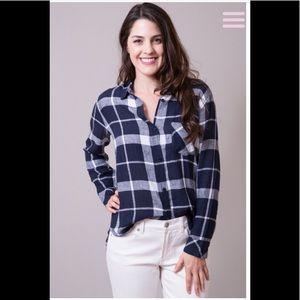 Rails Charli Navy/White Linen Rayon Blend Shirt M